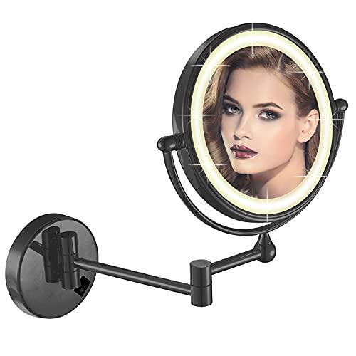 DOWRY Espejo de pared plegable redondo y estrecho, espejo cosmético para montaje en pared, espejo redondo negro, espejo de maquillaje para cuarto de baño, espejo de afeitar, 20 cm x 7
