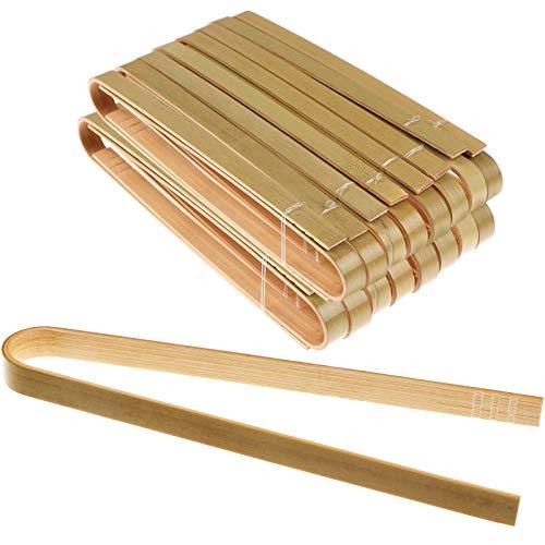100 pinzas desechables de bambú para tostadas ecológicas, catering, buffet o uso en el hogar