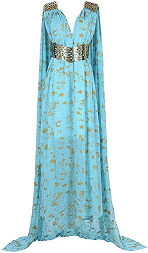 Thrones Daenerys Kleid Game of Thrones Halloween Cosplay Party Kostüme Kleider (Blau, XL)