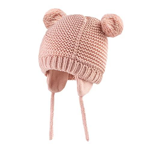 Dancinova Stricken Mütze Baby Mädchen Beanie Weich Doppel-Pom Pom Strickmütze mit Kinnbänder Neugeborenes Baby Mütze Rosa 6-12 Monate