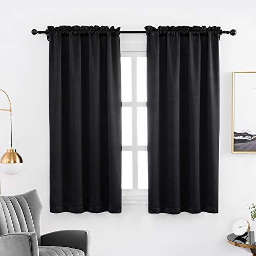 Anjee Blackout Curtain Panels 45 inches Long- Light Reducing Thermal Insulated Blackout Rod Pocket Curtains Drapes for Living Room (Set of 2, 38 inches by 45 Inch, Black)