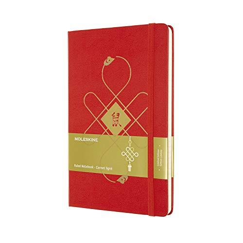 Moleskine Capodanno Cinese Special Edition Notebook, Taccuino Rosso con Copertina Rigida, Chiusura ad Elastico e Pagina a Righe, Dimensione Large 13 x 21 cm, 240 Pagine, Topo