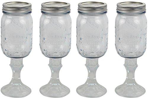 Ball Southern Homewares Redneck Glass 16oz Mason Jar Rednek Hillbilly Wine Soda Beer Mug Cup 4 Pack, Clear