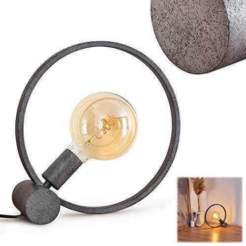Tischleuchte Darleg, Tischlampe aus Metall in Schwarz/Grau, 1-flammig, 1 x E27-Fassung max. 60 Watt, Ø 31 cm, Leuchte im Retro/Vintage Design mit Lichteffekt und An-/Ausschalter am Kabel, LED geeignet