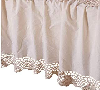 OctoRose 100% Thick Cotton Material with Hand Crochet Joint Lace Easy Fit Bed Skirt Dust Ruffle (Crochetskirt-Full/Queen, Beige)