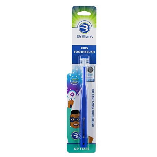 Brilliant Kids Toothbrush Ages 5-9 Years - When Adult Teeth Appear - Micro Bristles Clean All-Around Mouth, Kids Love Them, Royal Blue, 1 Count