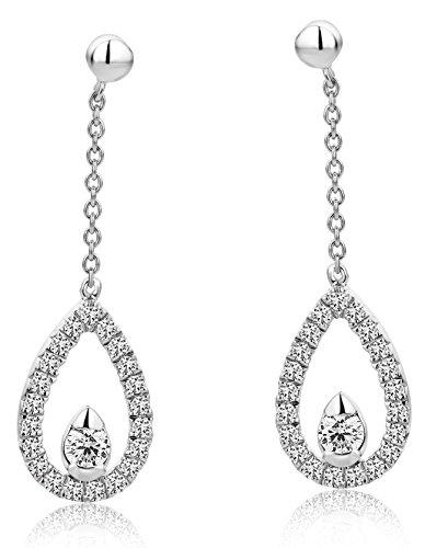 Diamada Damen Ohrringe gehänge weißgold Diamanten Tropfenform