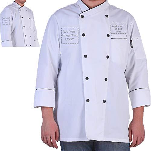 Personalized Customized Chef Jacket Hotel Kitchen Restaurant Chef Coat Embroidered Chef Uniform(WhiteL)