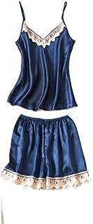 ملابس نوم نسائية جذابة من سامويستارت - ملابس داخلية للنوم قصيرة مصنوعة من الساتان للنساء- فستان للنوم ليلي - قطعتان - نوعا...