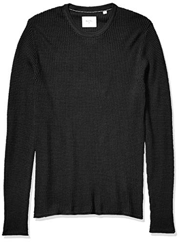 Billy Reid Men's Cotton Cashmere Mini Waffle Crew Neck Sweater, Midnight, L