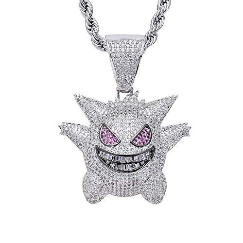 damofy Hip Hop Iced Out Chain Pokemon Gengar Anhänger 3A Zirkon für Geschenk, Gold und Silber