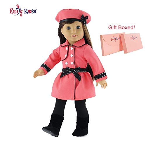 Emily Rose 18 Inch Doll Clothes | Lovely Coral and Black Traveling Coat Outfit, Includes Leggings, Hat and Boots | Fits American Girl Dolls