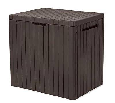 Keter City Box, 30 Gallon Deck Box, Resin Lawn & Garden Storage, Brown