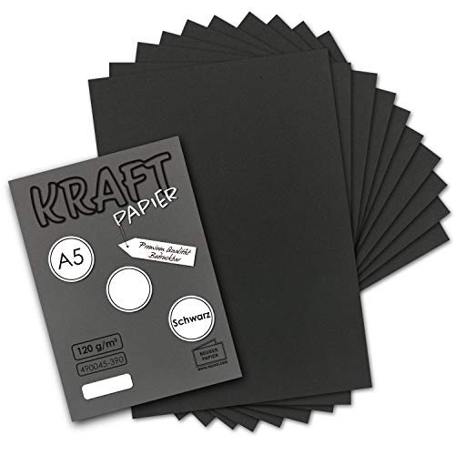 50 Blatt - Vintage Kraftpapier in Schwarz DIN A5 120 g/m² schwarzes Recycling-Papier - 21 x 14,8 cm - 100% ökologisch Brief-Bogen - Briefpapier - NEUSER PAPIER
