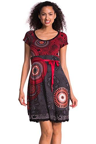 Desigual Damen Taille empireKleid| bedruckt| Schwarz - Noir (Negro)| 40 (Herstellergröße: DE:L / FR:XL) | Bekleidung > Kleider > Empirekleider | Desigual