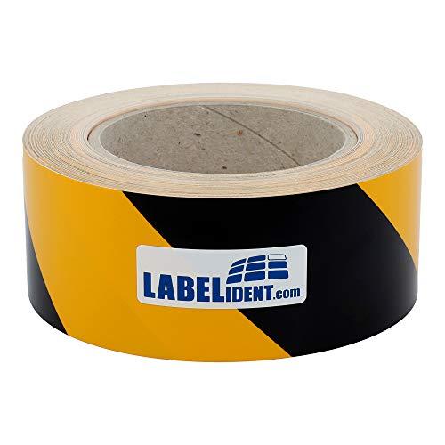 Labelident Bodenmarkierungsband signalgelb/schwarz - 50 mm - 33 lfm Warnmarkierungsklebeband auf 1 Rolle(n), 3 Zoll Rollenkern selbstklebend, Signalklebeband linksweisend