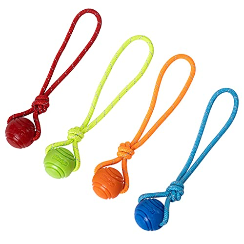 Vitalili Dog Training Ball on A Rope Rubber Dog Rope Toys Ball with Handle for Tug of War K9 Training Rewards for Belgian Malinois Gifts, 5cm in Diameter for Small Dogs (Four-Color)