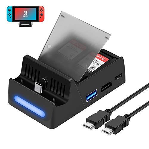 HeysTop Compatible Nintendo Switch Dock avec câble HDMI,Chargeur Stand pour Nintendo Switch commutateur TV Dock Station d'accueil avec Adaptateur TV HD et Port USB 3.0 avec 4 magasins GameCard