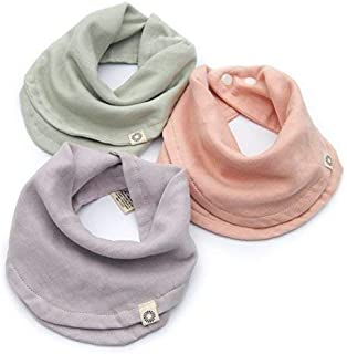 Indi by Kishu Baby - Infinity Scarf Bibs - Organic Drool Bib for Girls or Boys with Snaps - 100% Organic Cotton Muslin - 3 Luxuriously Soft, Solid Color Baby Drool Bibs (Sage Lavender Peach)