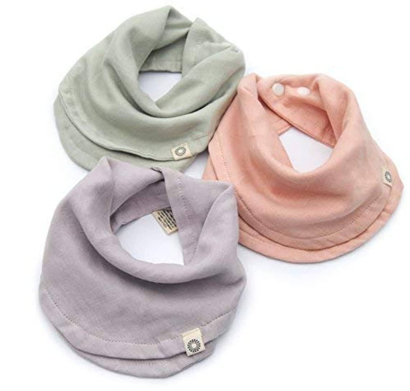 Indi by Kishu Baby - Girl Bibs - Organic Infinity Scarf Bib for Girls with Snaps - 100% Organic Cotton Muslin - 3 Luxuriously Soft, Solid Color Drool Bibs for Teething Babies