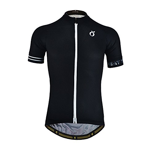 EMONDER Mens Short Sleeve Cycling Jersey Summer Breathable Quick Dry Bike Hiking Outdoor Sports Shirts (L, Black)
