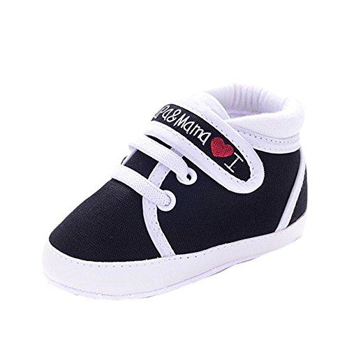 Zapatos Bebe Fossen I Papa&Mama Zapatos Suela Blanda del Antideslizante Primeros Pasos para Recién Nacido Niña Niño (12-18 Meses, Serie 2 ~ Negro)