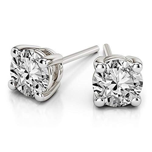 Orecchini a perno con diamante naturale 1/6 carati solitario orecchini da donna 14 K IJ-I3 di qualità 100% vero diamante (gioielli da donna)
