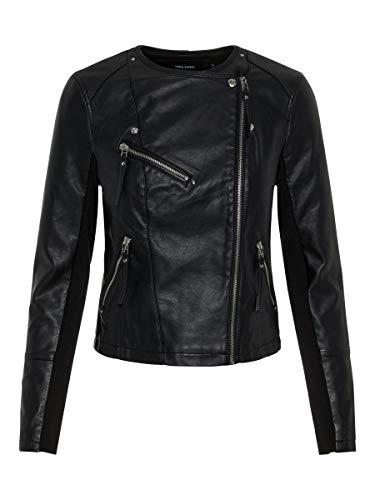 Vero Moda Vmria FAV Short Faux Leather Jacket Noos Chaqueta, Negro (Black Black), 40 (Talla del Fabricante: Medium) para Mujer