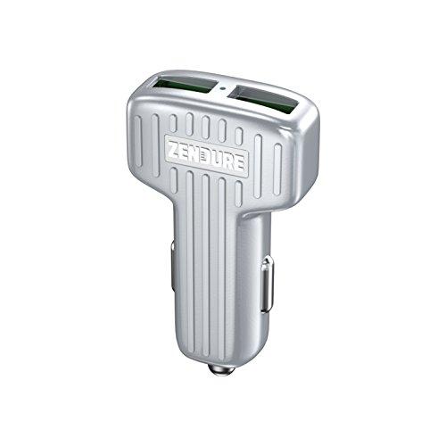 Zendure Autoladegerät 30W 2-Port Kfz USB Ladegerät mit Quick Charger 3.0,Car Charger für iPhone 8/8 Plus/iPhone X, iPad Air/Mini, Samsung Galaxy/Note, HTC, GPS und mehr Gerät (Silber)