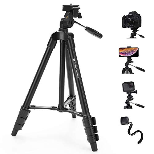 "Fotopro Camera Tripod, 48"" Phone Tripod with 3-Way Head, Lightweight Aluminum Tripod for iPhone, Samsung, 1/4'' Screw Travel Tripod with Bluetooth Remote for DSLR Camera, Canon, Sony, Nikon"