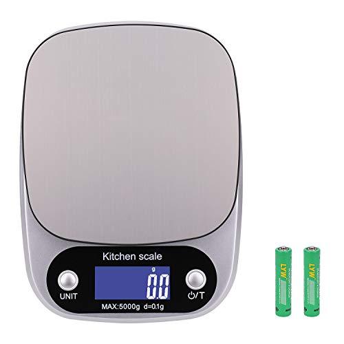 OUME Balance de Cuisine Electronique Numérique Précise Balance 5kg avec Plaque de Pesée en Acier Inoxydable et écran LCD pour Cuisson, Aliments et Régime équilibré Sain