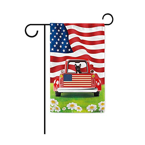 BAGEYOU Retro Red Patriotic Dog Truck Garden Flag French Bulldog Puppy 4th of July Rustic Daisy Decor Banner for Outside 12.5x18 Inch Print Double Sided