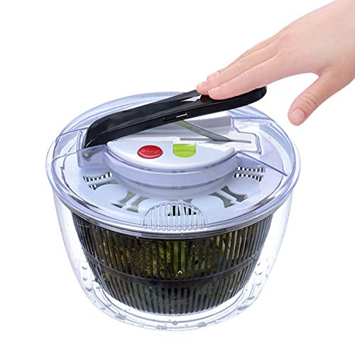 Centrifuga grande per insalata - Ciotola da portata trasparente, cestello per scolapasta, coperchio Smart-Lock, sistema di drenaggio facile, base antiscivolo.Perfetto per famiglie catering commerciali