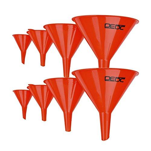 DEDC Kit de 8 Embudos de Diámetros Diferentes 12cm 10cm 7,5cm 5cm Embudos de Plástico para Aceite Combustible Gasolina Gasóleo de Coche Moto Auto Color Rojo