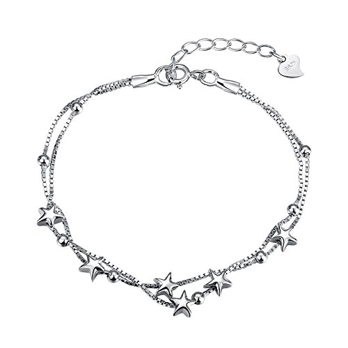 Pulsera para Mujer LDUDU Plata de Ley 925 Chapado en Or Blanco Pulsera para Niña regalo (Estrella)