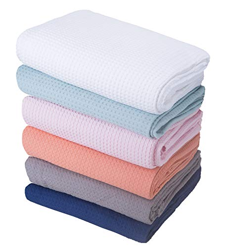 Moonen Waffle Weave Blanket 100% Cotton Waffle Weave Blanket Lightweight Soft Breathable Cozy Cotton Blankets for All Season (Pink, 59x78 Inch)
