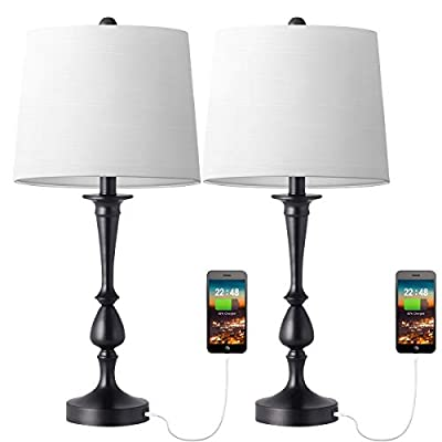 Oneach Mondern Table Lamp Set of 2 Bedside Desk Lamp with USB Port for Bedroom Living Room Coffee Table Nickle Finish