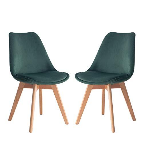 Lot de 2 chaises de salle à manger avec 2 chaises de salle à manger style tulipe - Design rétro - Chaise de cuisine avec pieds en bois - Chaise de bureau, chaise longue robuste et facile - Vert foncé