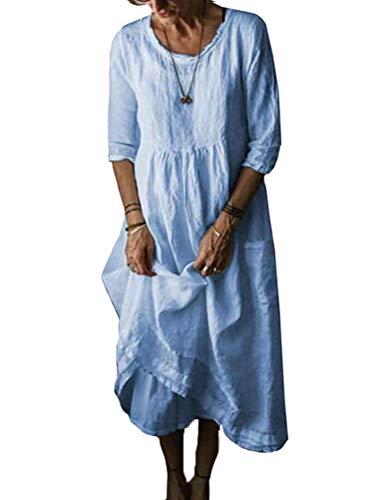Minetom Vestito Estivo da Donna Abito Sciolto 3/4 Manica Retro Abiti Lunghi Eleganti Camicetta Largo Casual Estivi Vestiti Taglie Forti Blu 50