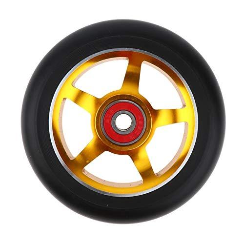 YGLONG Ruedas De Scooter Freestyle 2 unids aleación de Aluminio 100 / 110mm Truco Scooter Ruedas con rodamiento Kick Scooters Scooter Partes Ruedas reemplazos Accesorios (Color : Gold 110mm)