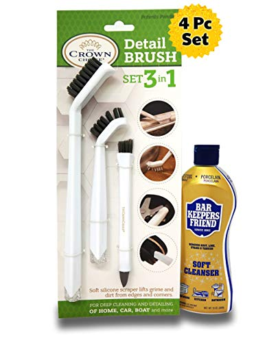 Bar Keepers Friend Soft Cleanser with 3-IN-1 Detail Grout Cleaning Brush Set   Deep Clean Stove top, Bathtub, Tiles, Kitchen, Bathroom, Car, Boats