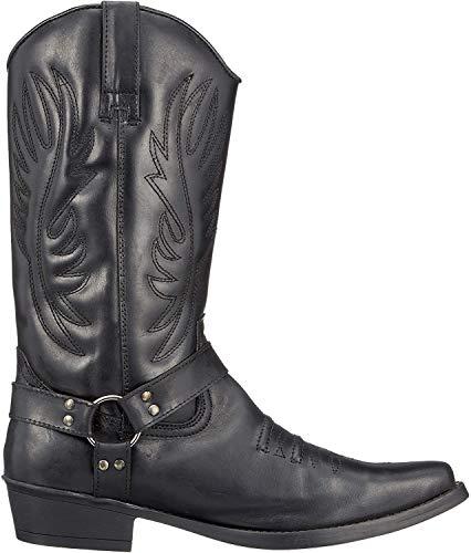 Herren Leder Cowboy-Ziehen Auf der westlichen Langen kubanischen Ferse Smart Knöchel Stiefel EU40-47 - UK 12 / EU 46, Schwarz