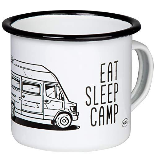 EAT Sleep Camp - Explore Drive Repeat - Hochwertiger Emaille Becher mit kultigem Mercedes Benz Camper - Bremer - James Cook Westfalia - 307 - leicht und robust - für Camping, Vanlife - von MUGSY.de