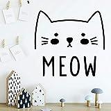 ganlanshu Katze Meow Wandaufkleber Moderne Stilvolle Wanddekoration Wohnzimmer Schlafzimmer...