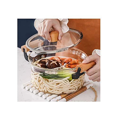 AOIWE Pote de Cocina de Vidrio Transparente, Olla de Sopa de Vidrio con Mango de Madera, cazo de Vidrio para Leche Caliente, Pasta Fideos en la Cocina (Color : Transparent, Size : 3.5L)
