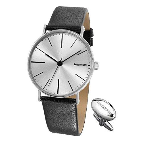 Lambretta Cesare Lederband Armbanduhr und Manschettenknöpfe Set 2181-sil