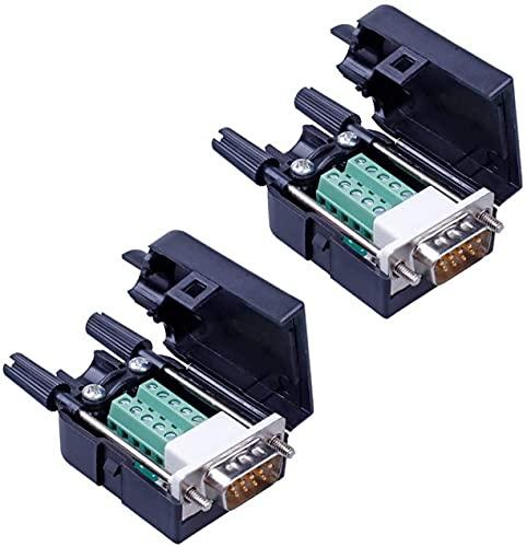 PENGLIN 2 connettori DB9 senza saldatura RS232 D-SUB seriali fino a 9 poli, connettore connettore breakout Board con alloggiamento, viti lunghe (2 spine)