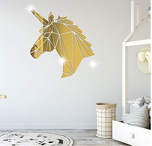 Einhorn Spiegel 3D Wandaufkleber Geometrische Tier Wohnzimmer Einhorn Acryl Wandtattoos Acryl Gespiegelt Dekorative Aufkleber 38 * 40 CM