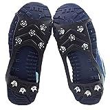 Puños Ice Snow, 8 Stud Anti-Skid Shoe Spikes Crampon Anti-Ice En Zapatos Slip Abrigos Zapatos de Nieve Hielo Botas Caminando Pesca Pesca Senderismo Invierno para Caminar sobre Nieve y Hielo