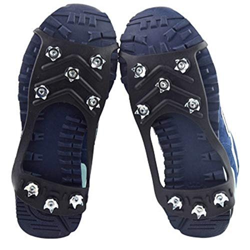 TWWSA Dentado Robusto 8 Stud Anti-Skid Shoe Spikes Crampon Anti-Ice En Zapatos Slip Abrigos Zapatos de Nieve Hielo Botas Caminando Pesca Pesca Senderismo Invierno Super elástico (Color : Black)